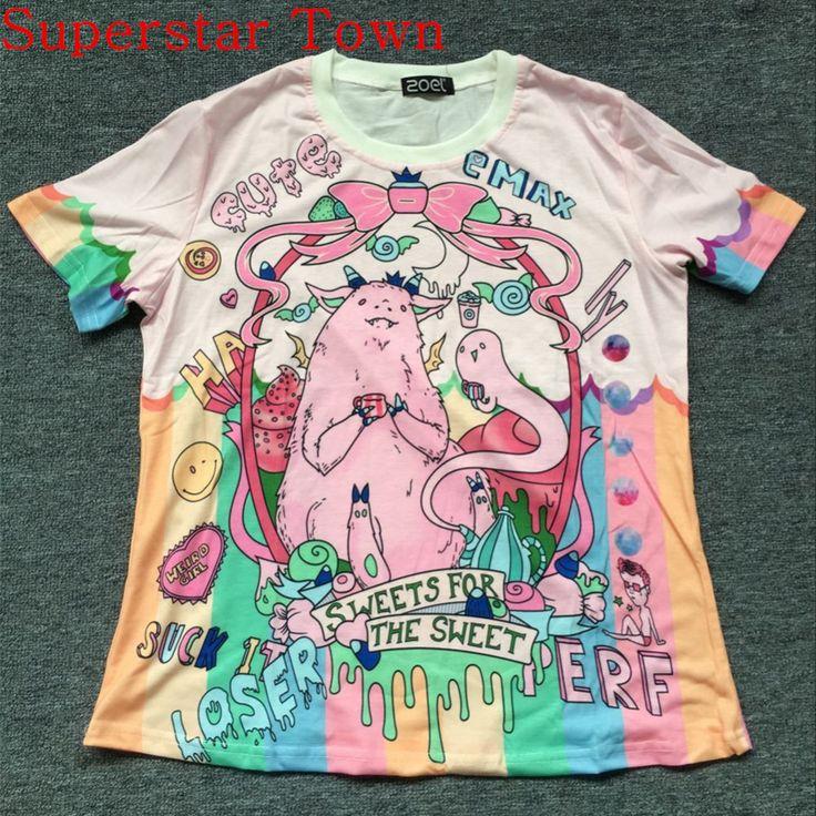 2016 Japan Lolita T shirt Unicorn Monster Harajuku Trend Fashion Kawaii Tee T Shirt Adorable Summer Camisa Anime Feminina