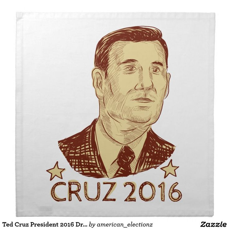 Ted Cruz President 2016 Drawing Napkin. Drawing sketch style illustration showing Rafael Edward Ted Cruz, an American senator, politician and Republican 2016 presidential candidate set inside crest shield with words Cruz 2016. #Cruz2016 #republican #americanelections #elections #vote2016 #election2016