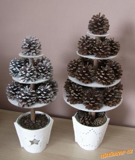 Další z vánočních inspirací tentokrát na vánoční stromky ze šišek.