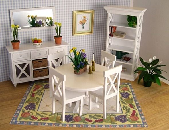 Chic and Relaxing Small Space Dining Room Solution with White Furniture Set