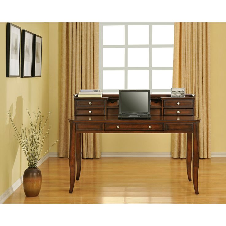 add an elegant feel to your office with this beautiful writing desk with hutch from altra featuring a flipdown keyboard drawer and a display shelf