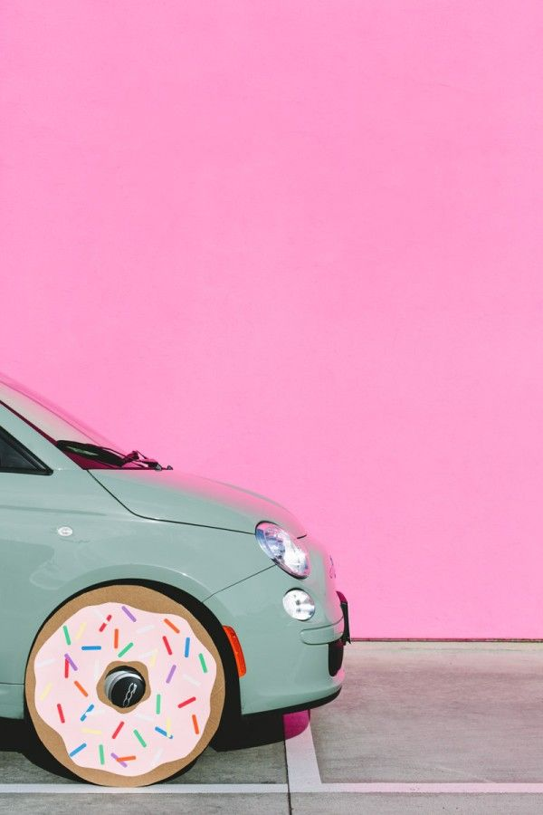 a car with donut wheels...