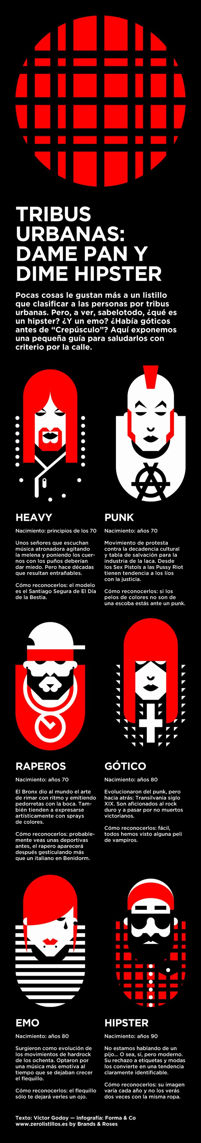 #Infografía sobre tribus urbanas: heavy, punk, raperos, góticos, emo, hipster, etc.