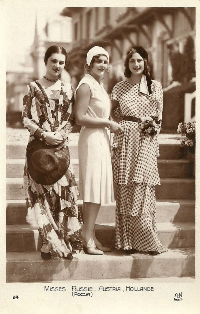 1930s Miss Europe candidates: Miss Russia, Miss Austria, and Miss Holland photographed here in France,