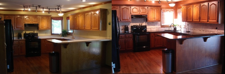My Golden Oak Kitchen Remodel Darkened the cabinets with glaze, Black