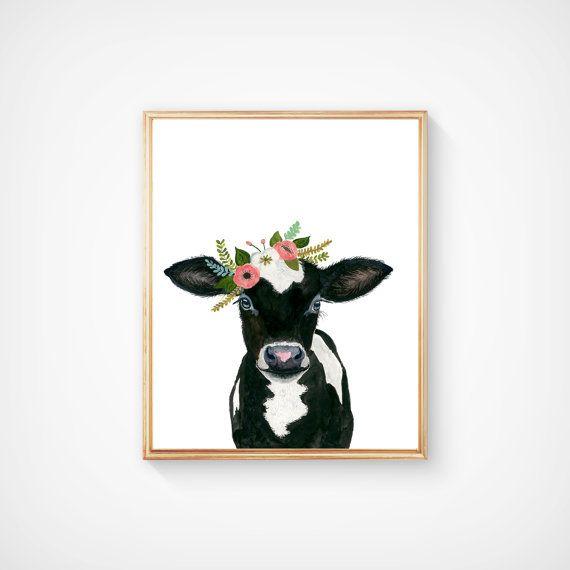 Aquarel koe kalf baby boerderijdieren koe schilderen babby