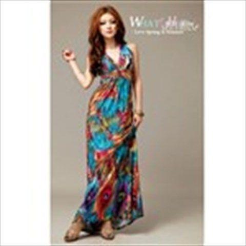 Exotic Bohemian Style Women Sweep Maxi Dress