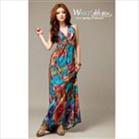 Exotic Bohemian Style Women Sweep Maxi Dress