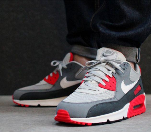 Nike Air Max 90 Grey Red beardownproductions.co.uk