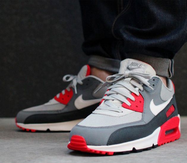 nike air max 90 grey and red