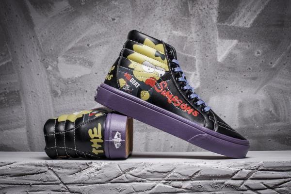 2538a7377d4 Vans X Toy Story X The Simpsons Leahter Sk8-Hi Classics Black Purple Womens  Shoes  Vans