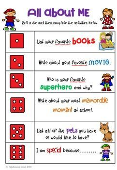 All about me - Back to school fun!These vibrantly colorful dice games are a great activity for first week back at school. Students can play in small groups or pairs and get to know each other. The Roll a Die games can be incorporated into Literacy Centers or Daily 5 activities.There are 3 different Roll a Die games to choose from.