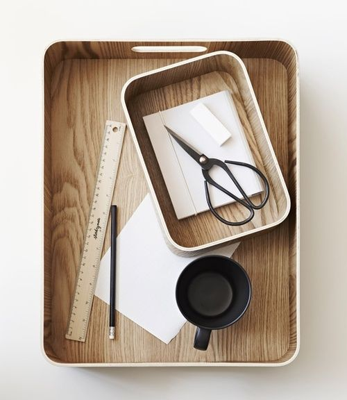 rounded + wood + desk accessories