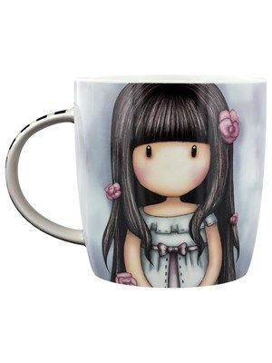 With delicate pink rosebuds decorating her ebony hair, the beautiful girl on this mug from Santoro is 'simply 'gorjuss'! Add to your ever growing collection of Gorjuss girls, with this stunning design, including a black and white striped box. Official merchandise.