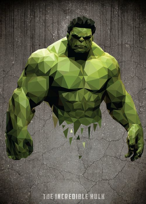 Low-Poly Portrait #Hulk                                                                                                                                                                                 More