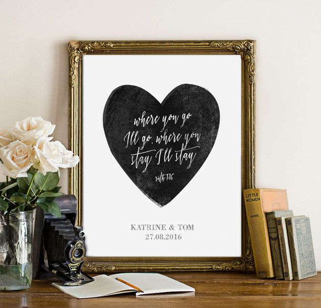 """Customizable Wedding Print - with quote from Bible: """"where you go Ill go , where you stay I'll stay"""" Ruth 1:16 - this makes an excellent wedding or anniversary gift. This is..."""