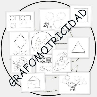 Fichas grafomotricidad con figuras geométricas