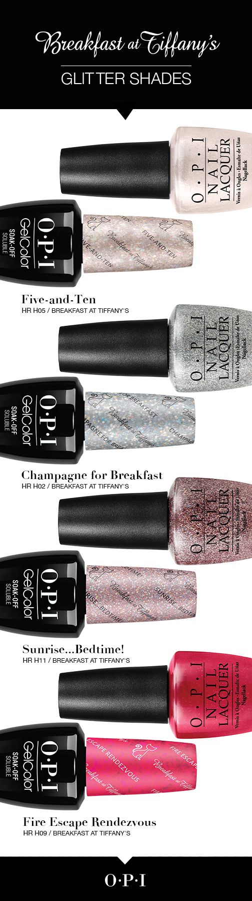 Meet the glitter shades from the new OPI Breakfast at Tiffany's collection. Inspired by the iconic film, Breakfast at Tiffany's, let your nails dazzle this holiday season with the exciting shades from#OPIBreakfastAtTiffanys. Each nail lacquer shade is perfectly paired in OPI GelColor. Complete your holiday outfit with a touch of sparkle!