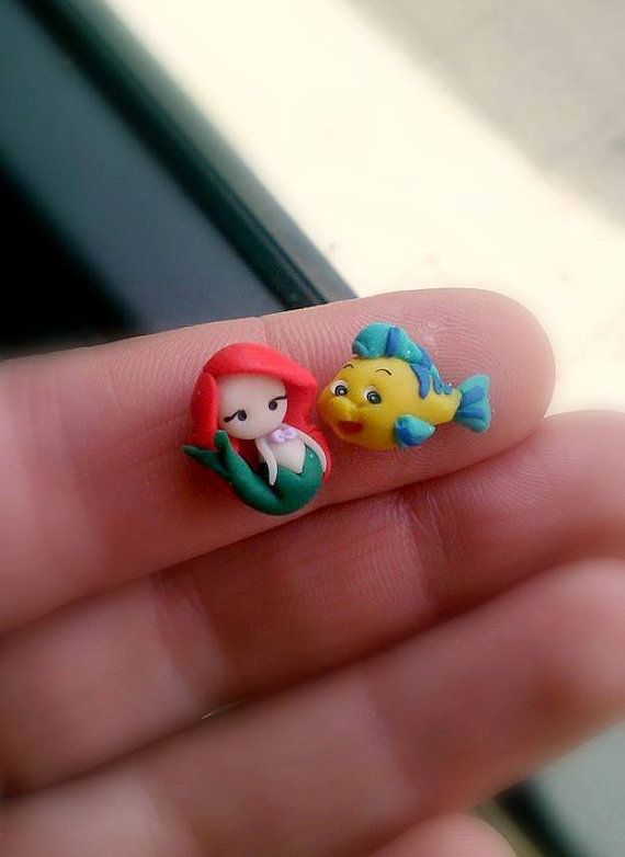 Ariel the little mermaid and Flounder studs or magnetic earrings, inspired.Disney jewelry.Ariel jewelry.Little mermaid jewelry.