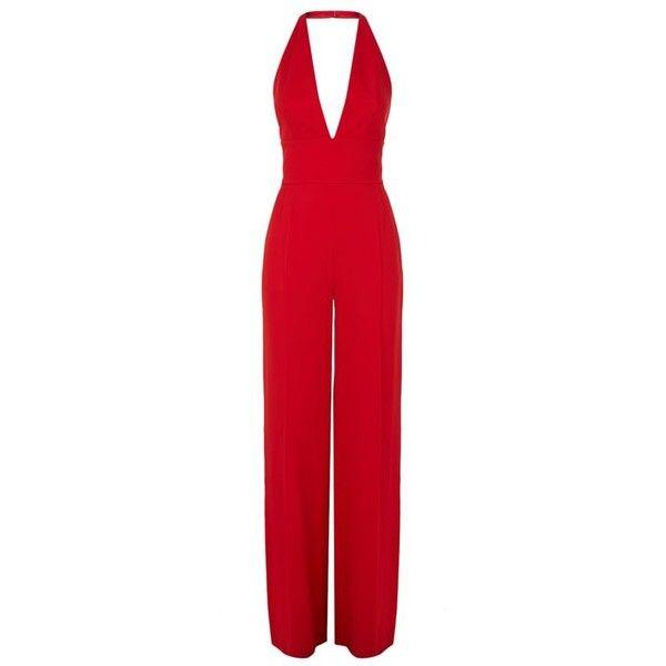 La Mania Runis Wide Leg Jumpsuit (306.205 HUF) ❤ liked on Polyvore featuring jumpsuits, halter top, jump suit, red jumpsuit, red plunge jumpsuit and red halter jumpsuit