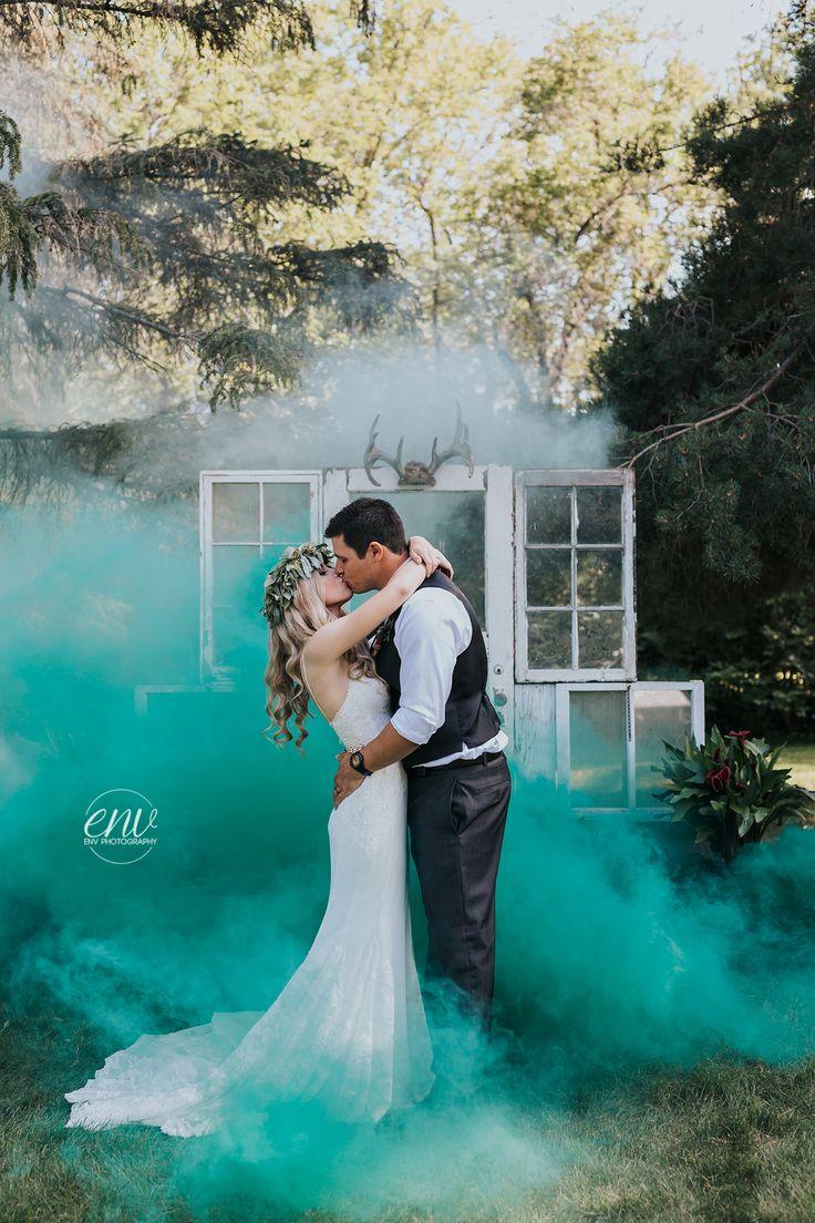 Enola Gaye smoke grenades wedding photography by ENV Photography colored smoke bombs rustic wedding