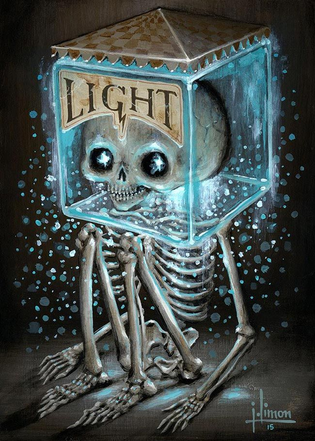 'Light' by @jasonlimon. Find out more about Jason and see more of his wonderful art at wowxwow.com (narrative, creatures, character design, mystery, skull, surreal, pop surrealism)