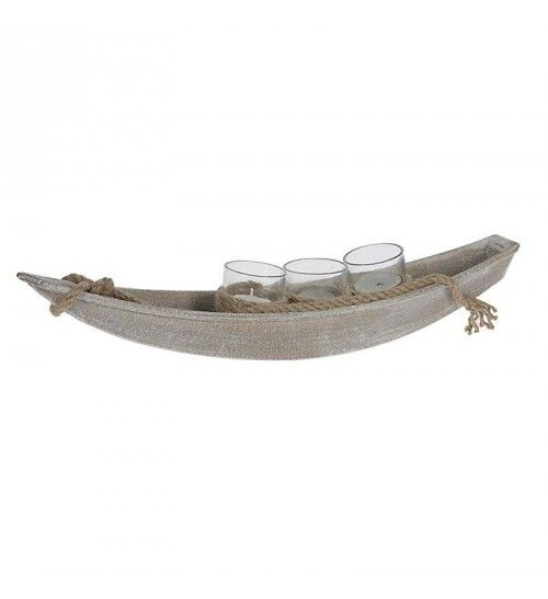 WOODEN SHIP_CANDLE HOLDER IN WHITE COLOR 42X9X8