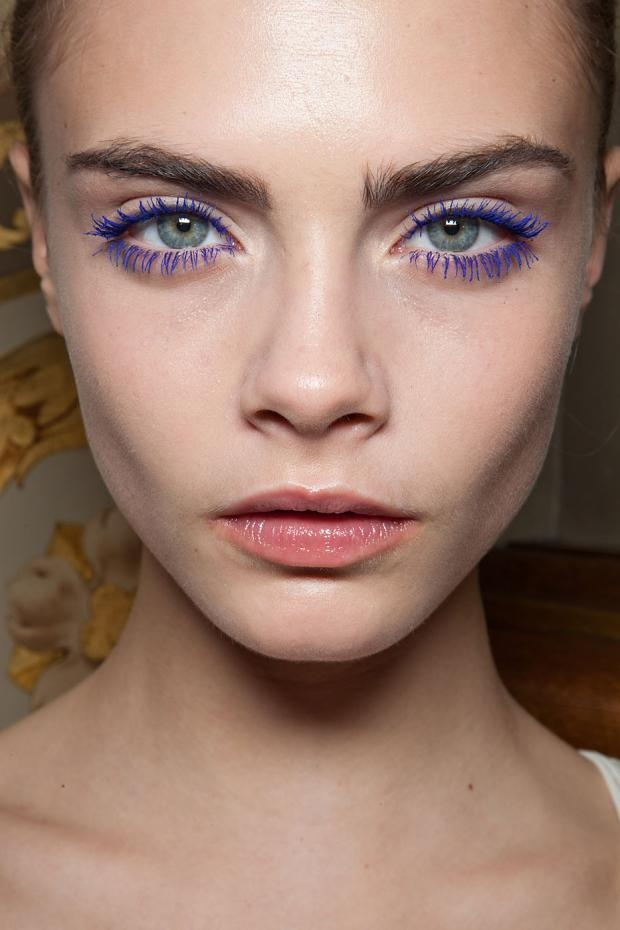 Coloured Mascara to make eyes pop... I guess the beautiful face helps too. Cara Delevingne makes it look too easy.