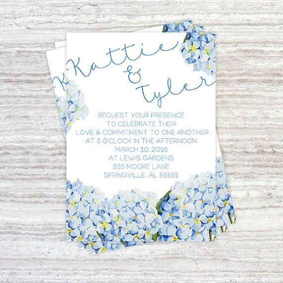 Blue Hydrangea Wedding Invitation Set By Luckylogoboutique Invites Jen Keenan Pinterest Invitations And Fl
