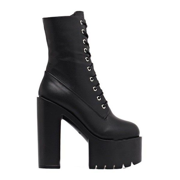 Fold Down High Heel Combat Boots (£37) ❤ liked on Polyvore featuring shoes, boots, ankle booties, fold over ankle booties, military fold over boots, fold-over combat boots, combat booties and foldover booties