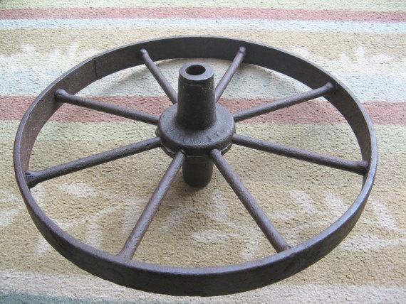 Iron wheelbarrow wheel by Steamweaver on Etsy, $27.00