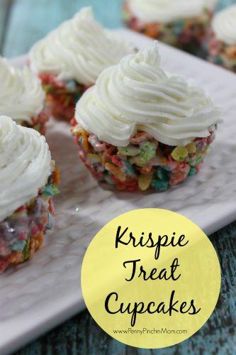 Springtime Krispie Treat Cupcakes!  #recipes  #springtime   www.pennypinchinmom.com  Springtime Krispie Treat Cupcakes - http://www.pennypinchinmom.com/springtime-krispie-treat-cupcakes/