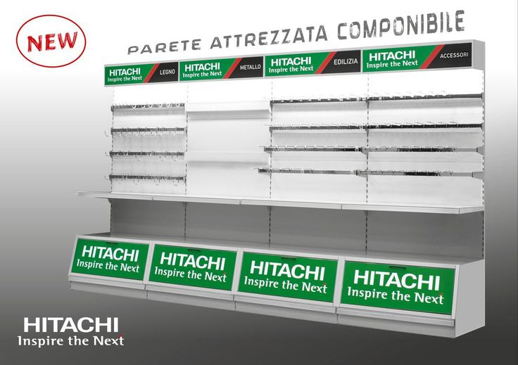 Nuovo concept per le #paretiattrezzate #Hitachi!  Progettate per dare il massimo risalto ai nostri prodotti! #musthave #wallunits #ferramenta #esposizione #exposure