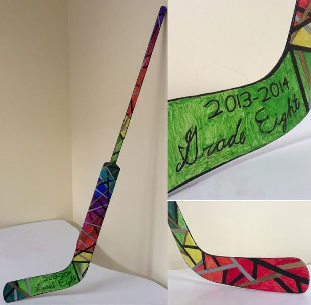 Grade 8 students collaborate on designing this hockey stick - to be auctioned at their school's fundraiser.