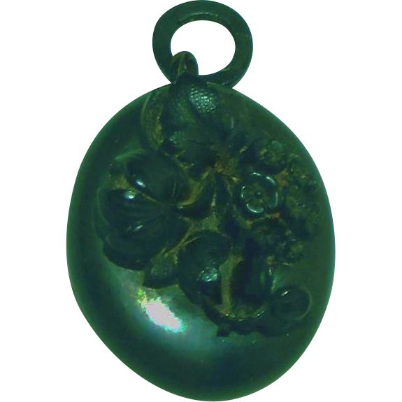 "Antique Mourning Jewelry Gutta Percha Deeply Carved Picture Locket.  ON SALE NOW at ""Vintage Jewelry Stars"" shop at http://www.rubylane.com/shop/vintagejewelrystars !!"