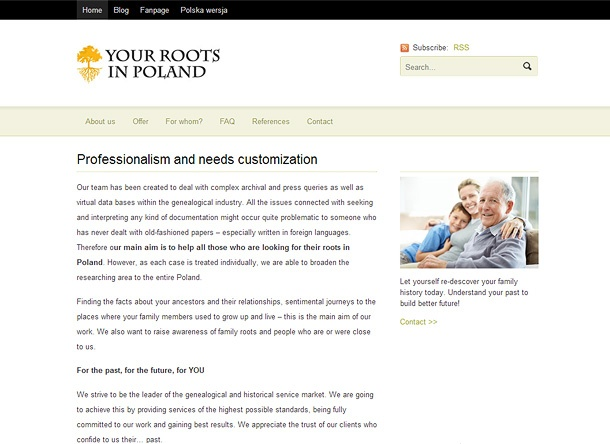 Serwis dla Your Roots in Poland
