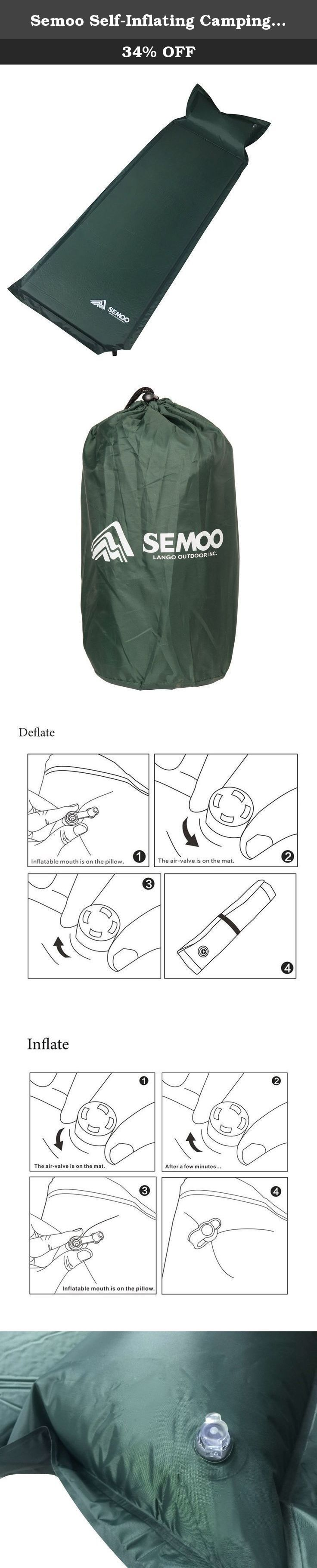 Semoo Self-Inflating Camping Sleeping Mat/pad, Quick Flow Valve, Water Repellent Coating, with Attached Inflatable Pillow,190T Polyester. The Semoo Self-Inflating Sleeping Mat/Pad is a perfect choice for camping and travel. Equipped with a special waterproof polyester taffeta outer lining, and filled with a high-resilience sponge and air, this mat will provide ample comfort. A high-quality ABS quick flow valve makes the mat super easy to self-inflate and deflate, and convenient to use…
