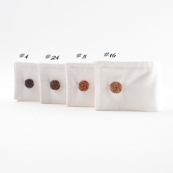 Unique designed and perfectly finished clover flower cufflinks. Made of cotton twine with metal cuff link bases. Available in 4 shades and 2 sizes.   Limited edition order before they are gone.
