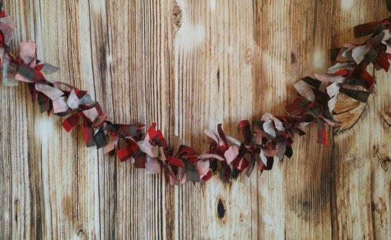 Red Plaid Flannel Fabric Rag Tie Garland Decoration