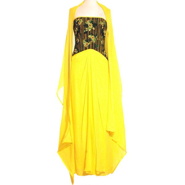 Preowned Vintage Endangered Frank Tignino Strapless Embroidered Beaded... ($1,500) ❤ liked on Polyvore featuring dresses, gowns, yellow, vintage beaded dress, yellow corset, strapless corset, vintage gowns and vintage corset