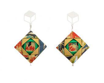 Mosaic Earrings  Origami Earrings; Origami Jewelry, Origami Jewellery; Origami; Paper Jewelry; Washi Paper; Japan; Folded Jewelry; Girlfriend Gift