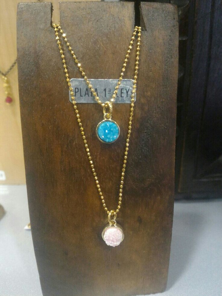 Collares de plata de ley con baño de oro y mineral drusa