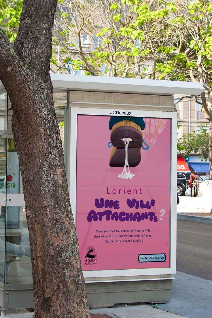 """Affiche """"Une ville touchante"""" Pour la campagne de ville de Lorient """"Partageons la rue""""."""