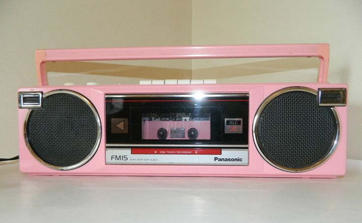 vintage 1980 39 s panasonic pink boom box radio stereo cassette player radios vintage and boxes. Black Bedroom Furniture Sets. Home Design Ideas