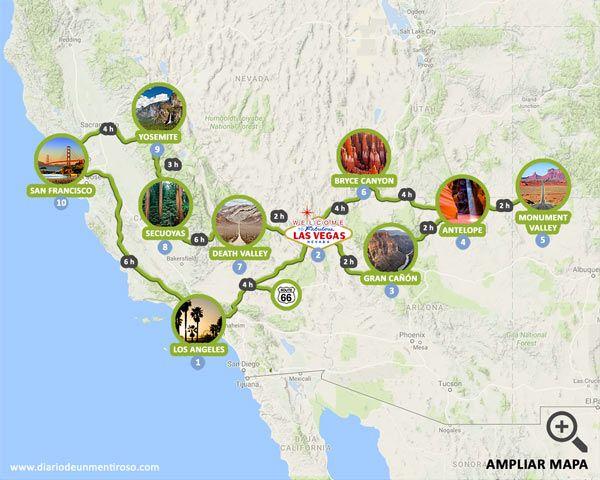 Mapa Eeuu Costa Oeste.Mapa De Una Ruta De 14 Dias Por La Costa Oeste De Estados