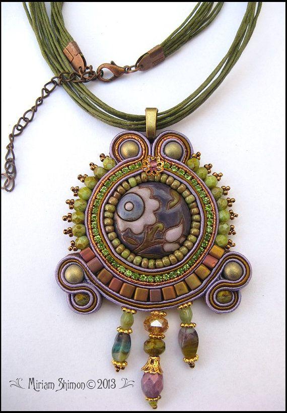 Soutache pendant in Olive Bronze Purple and Gold by MiriamShimon