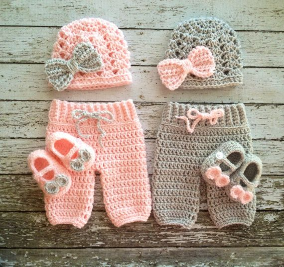 Twin Photography Prop Set in Pale Pink and Gray- Crochet Baby Pants in 3 Sizes…