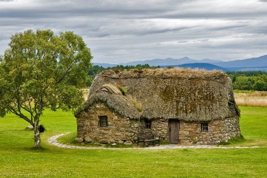 """Culloden near Inverness, Scotland - one of the strangest battlefields (and mass burial grounds) in the world.  There is so much juxtaposition between the """"ordinary"""" (like this cottage) and the """"extraordinary"""" (like the mass graves not 100 yards away)."""