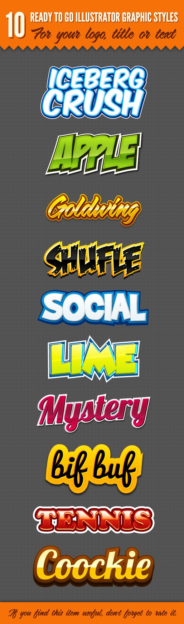 10 Logo Graphic Styles for Adobe Illustrator #design #ai Download: http://graphicriver.net/item/10-logo-graphic-styles/3417872?ref=ksioks
