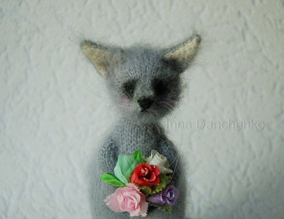Knitted Grey Soft Toy Cat with flowers - ready to ship